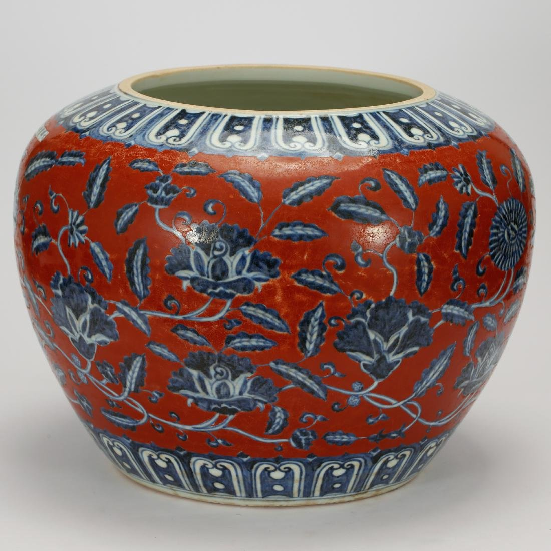 CHINESE BLUE WHITE RED GROUND PORCELAIN JAR - 5