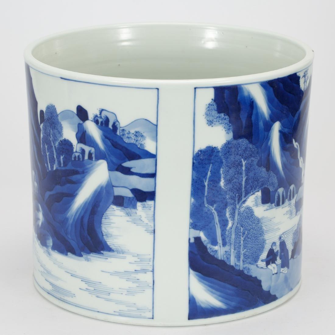 CHINESE BLUE AND WHITE BRUSH POT - 2