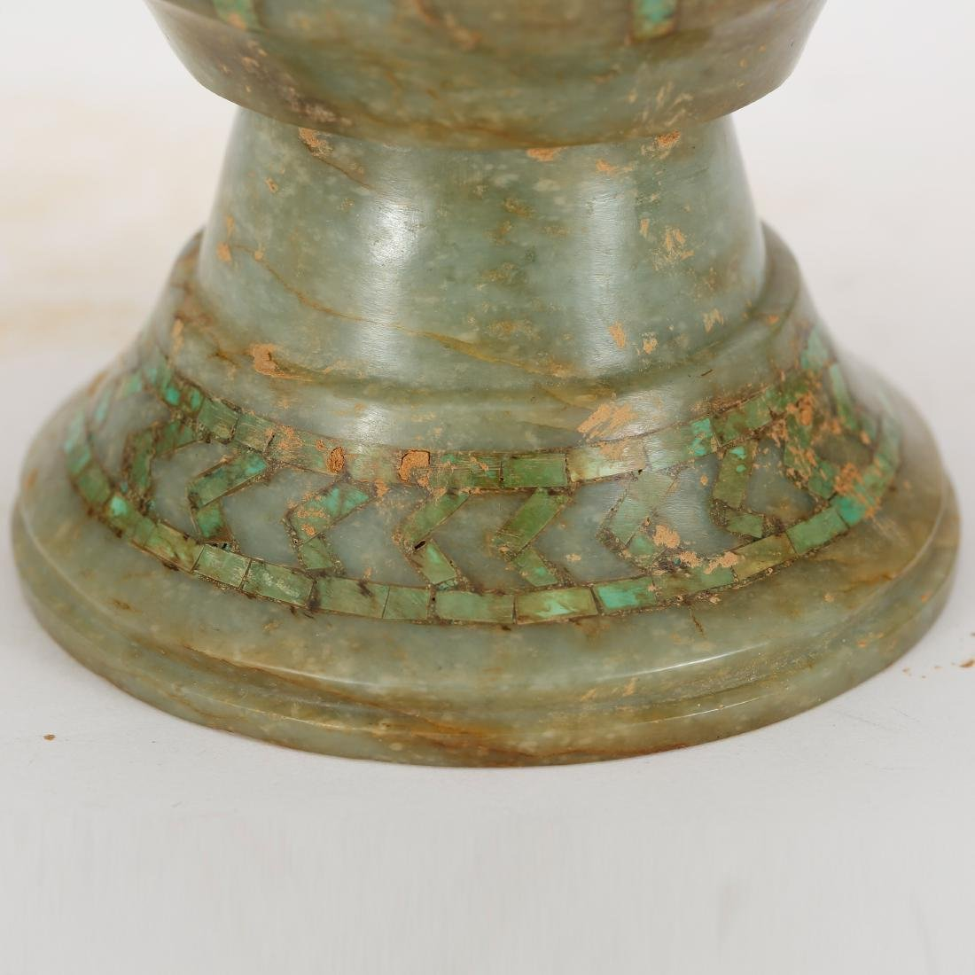 CHINESE ARCHAIC STYLE JADE CUP - 4
