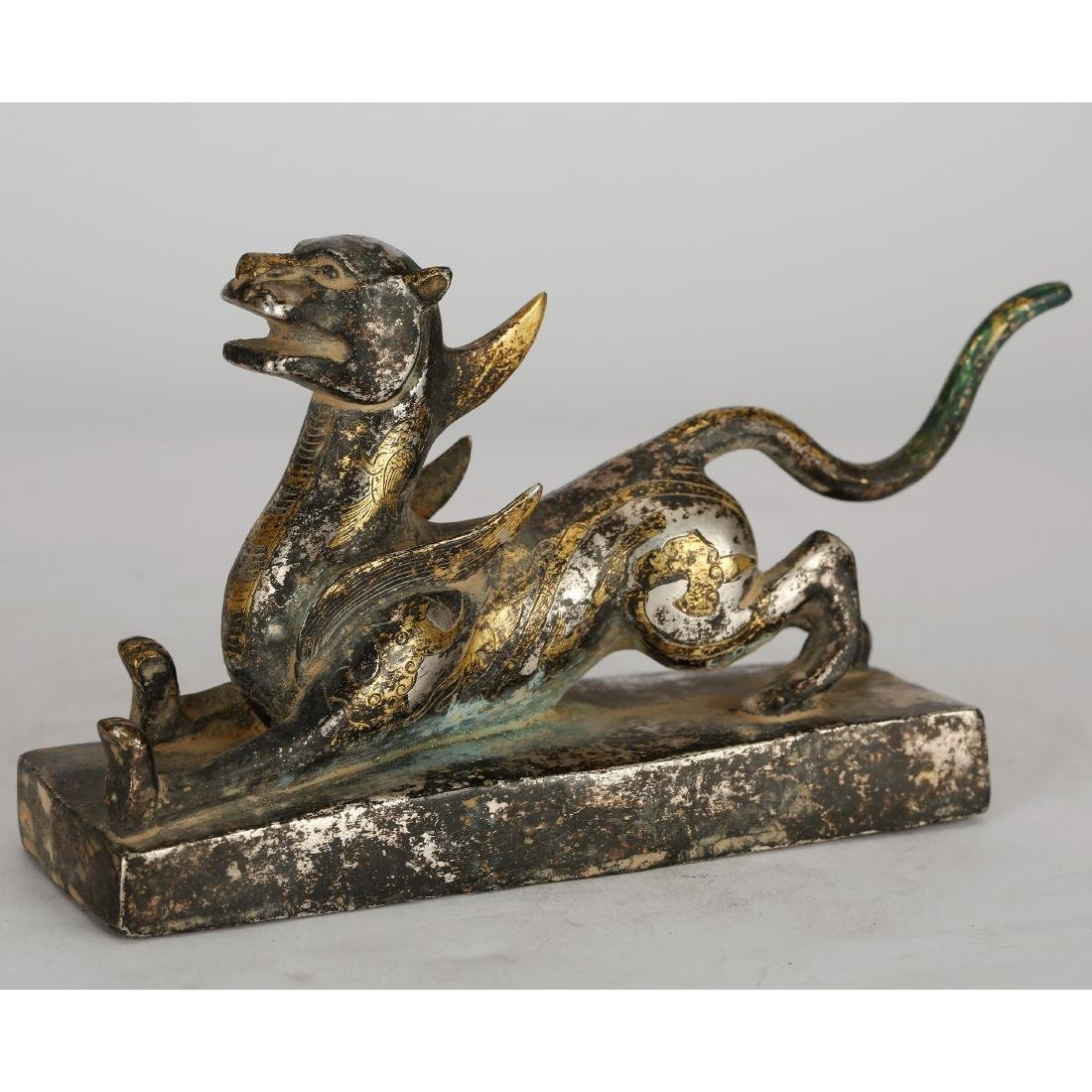 CHINESE GILT BRONZE BEAST
