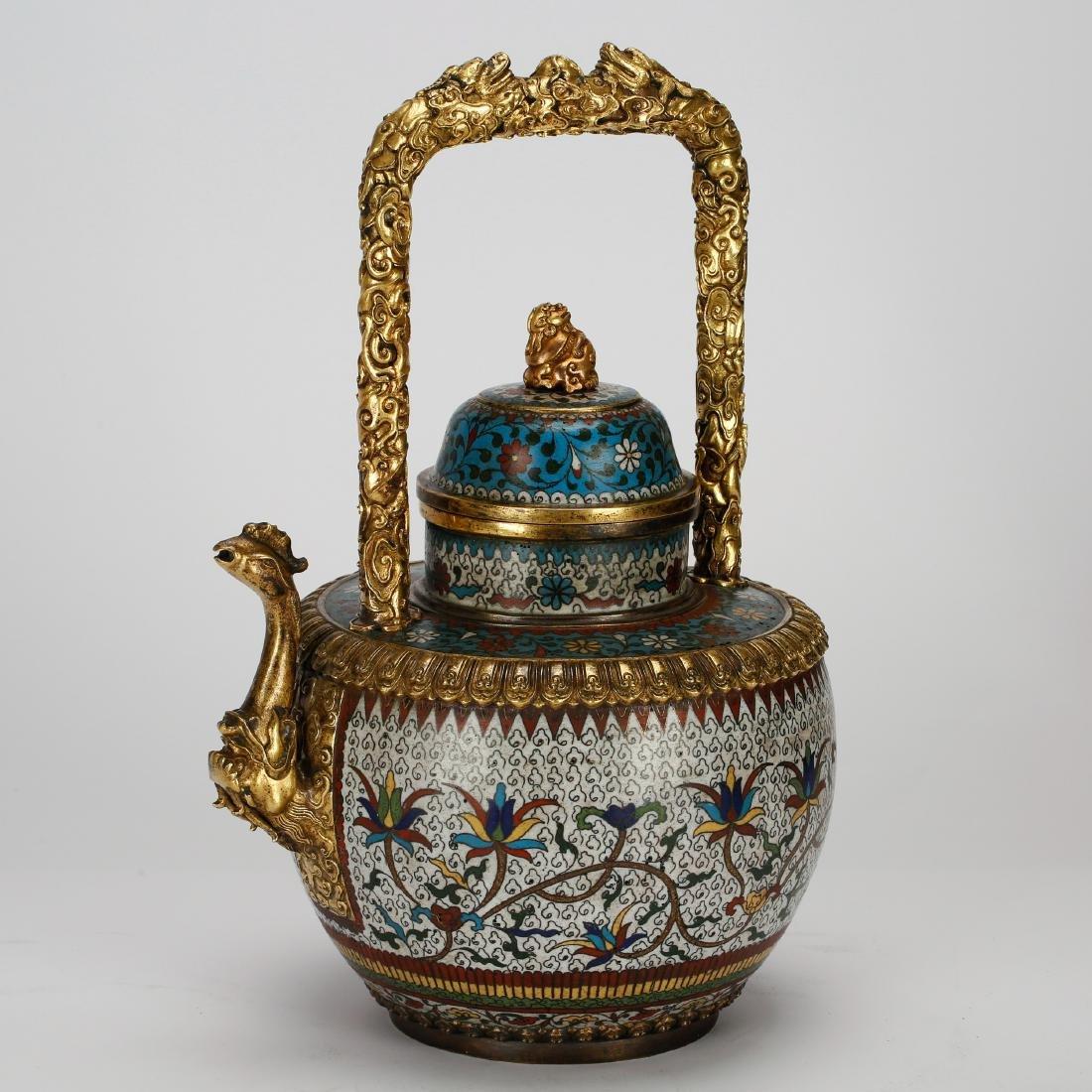 CHINESE CLOISONNE ENAMEL TEA POT