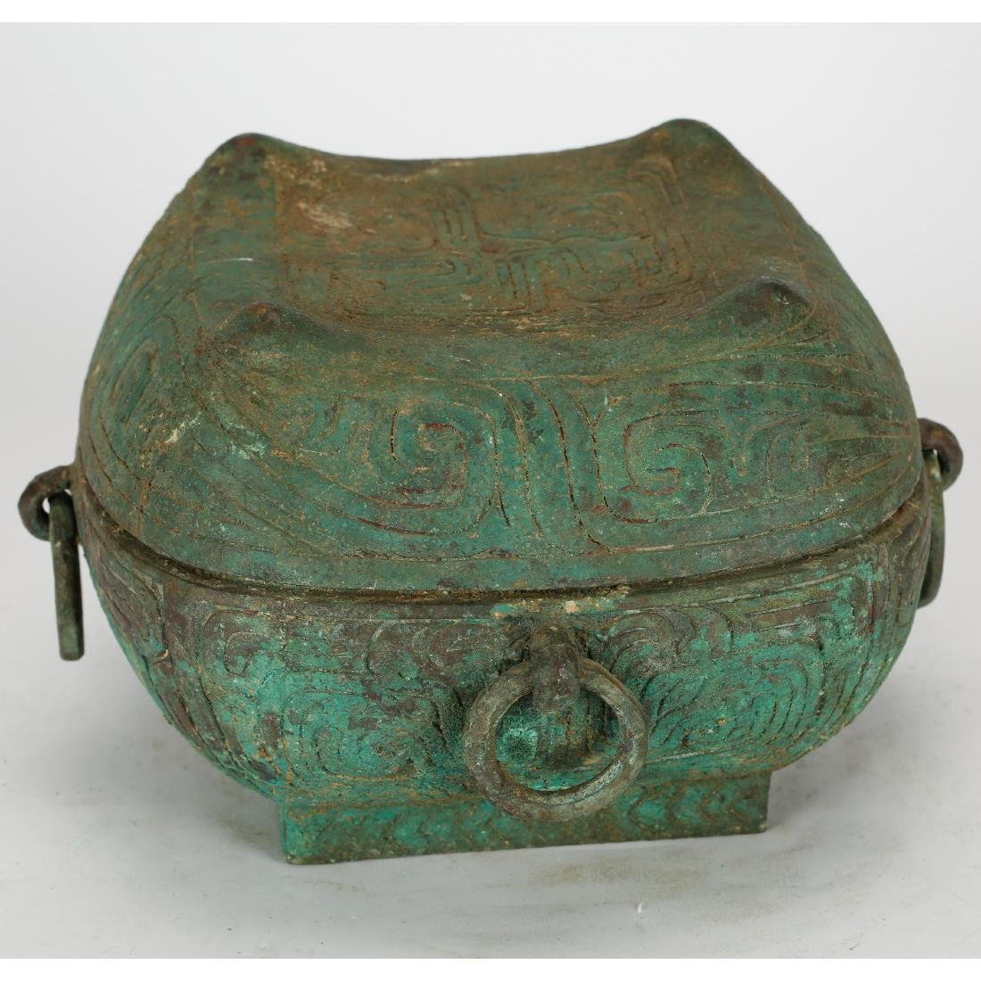 CHINESE ARCHAIC STYLE BRONZE COVER BOX