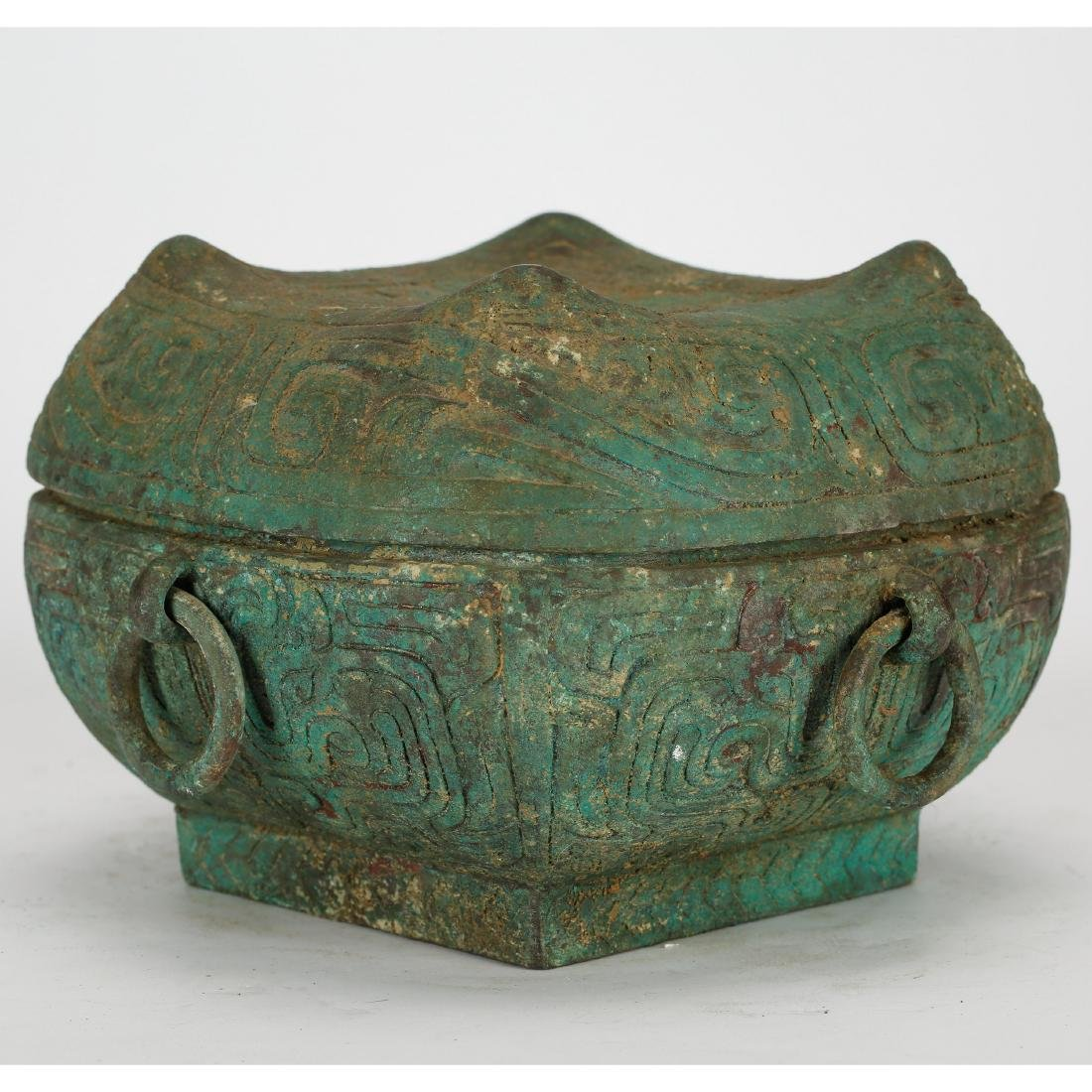 CHINESE ARCHAIC STYLE BRONZE COVER BOX - 2