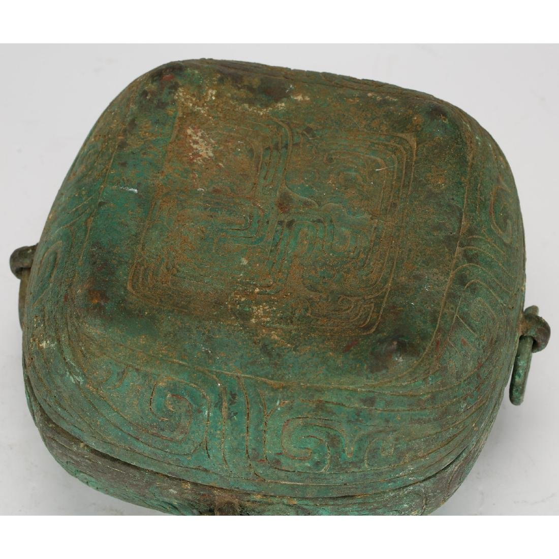 CHINESE ARCHAIC STYLE BRONZE COVER BOX - 4