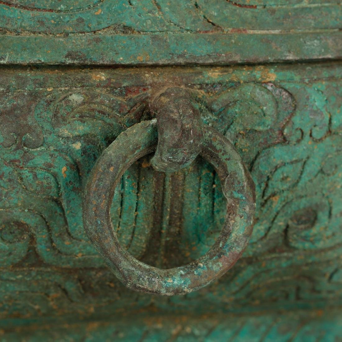 CHINESE ARCHAIC STYLE BRONZE COVER BOX - 5