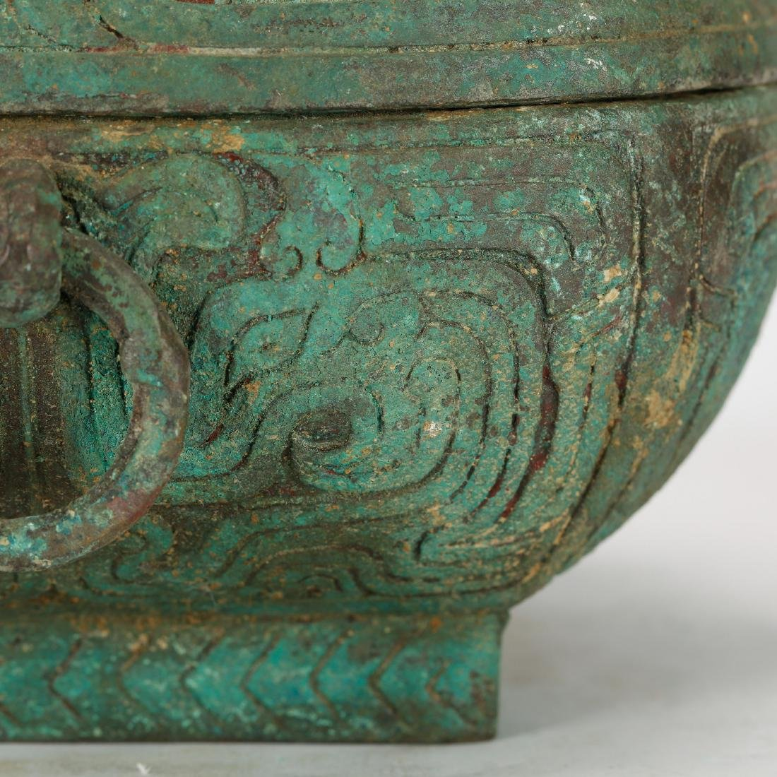CHINESE ARCHAIC STYLE BRONZE COVER BOX - 6