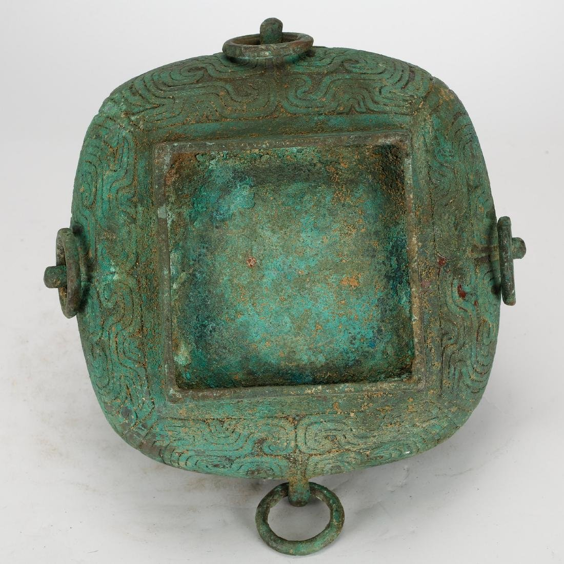 CHINESE ARCHAIC STYLE BRONZE COVER BOX - 8