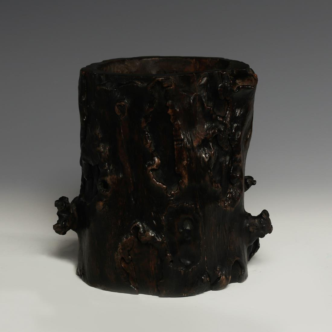CHINESE HARDWOOD BRUSH POT - 3