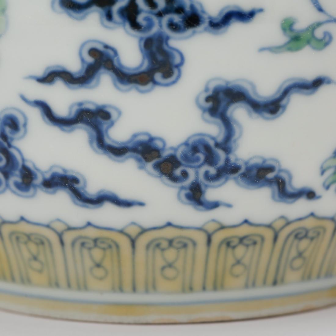 CHINESE DOUCAI PORCELAIN DRAGON JAR - 5