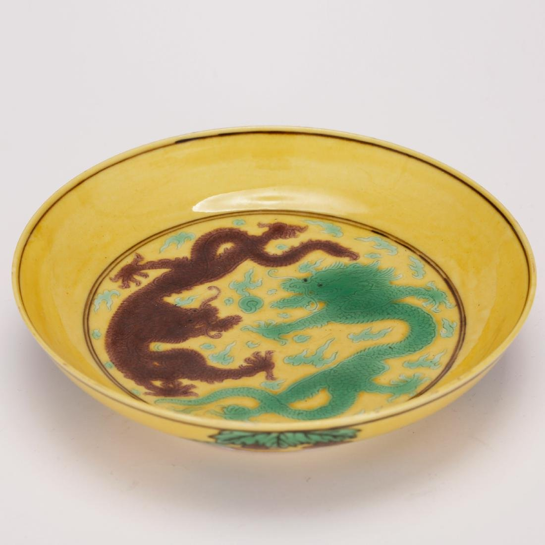 CHINESE YELLOW GROUND PORCELAIN PLATE - 4