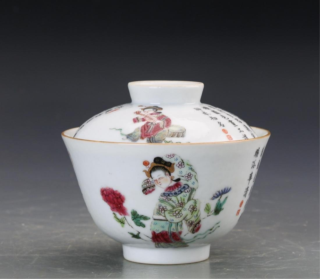 CHINESE PAIR OF FAMILLE ROSE PORCELAIN CUPS - 3