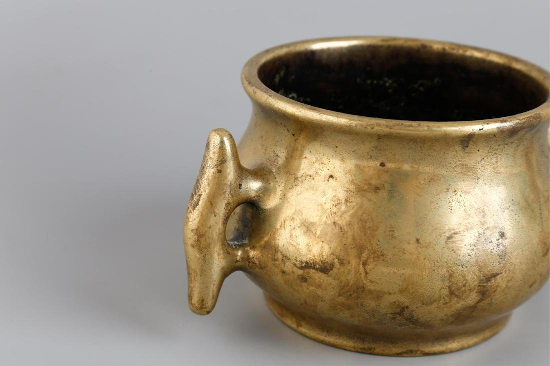 CHINESE BRONZE CENSER BURNER WITH MARK - 4