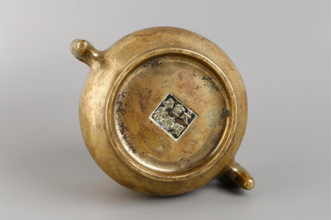 CHINESE BRONZE CENSER BURNER WITH MARK - 6