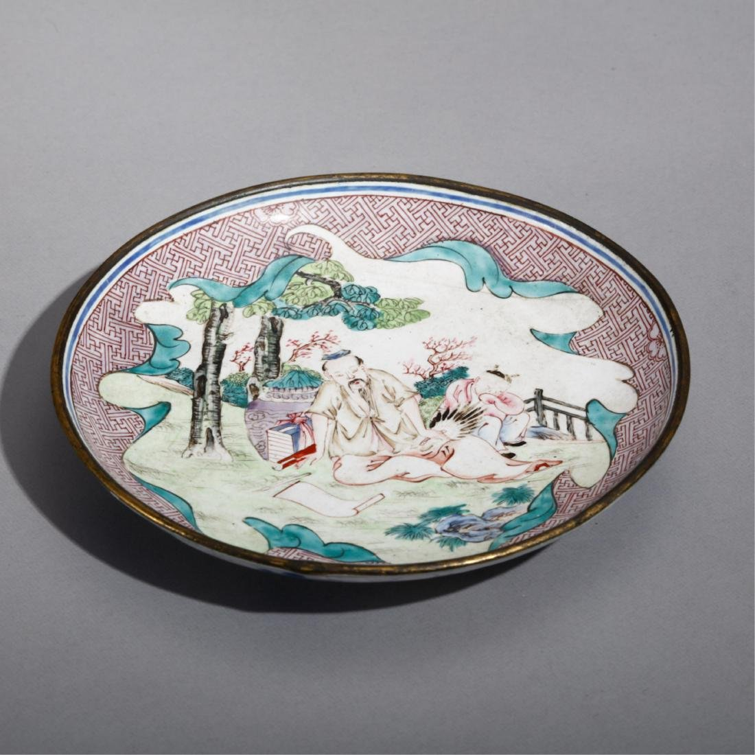 CHINESE BRONZE ENAMELS PLATE
