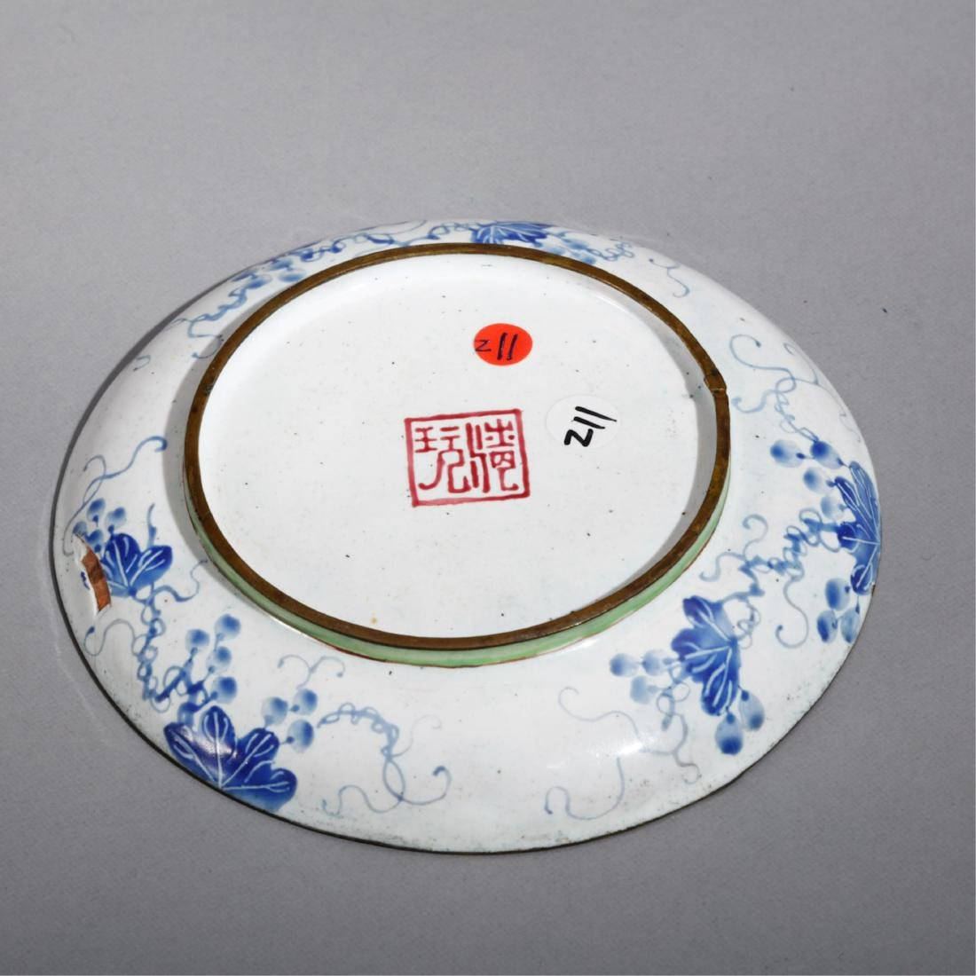 CHINESE BRONZE ENAMELS PLATE - 2