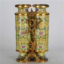 CHINESE CLOISONNE DOUBLE VASE OF HEROES