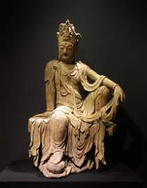 CHINESE LARGE WOOD CARVED FIGURE OF GUANYIN