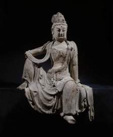 CHINESE LARGE WOODEN SEATED GUANYIN