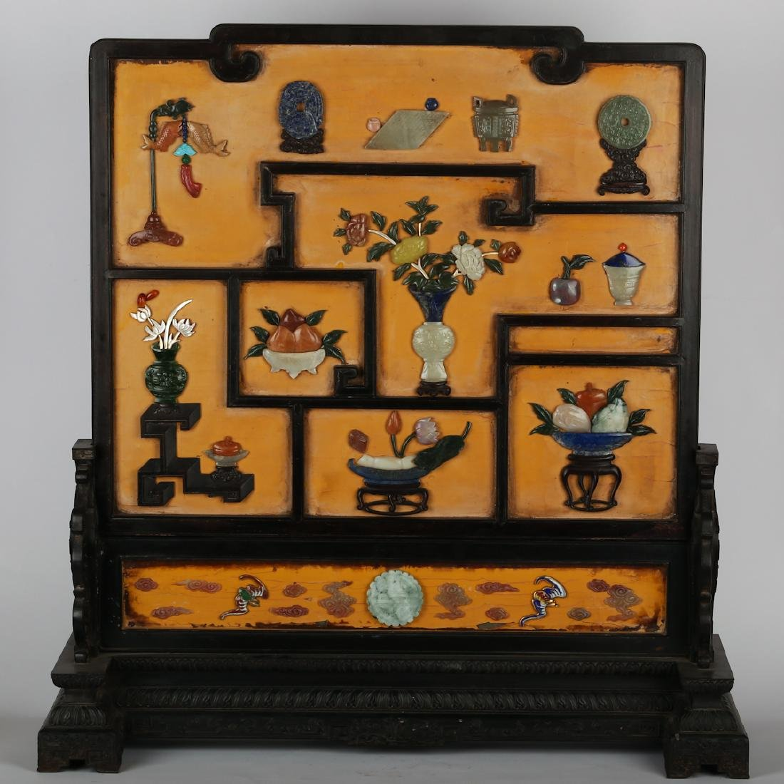 CHINESE ROSEWOOD TABLE SCREEN INLAID JADE AND STONES