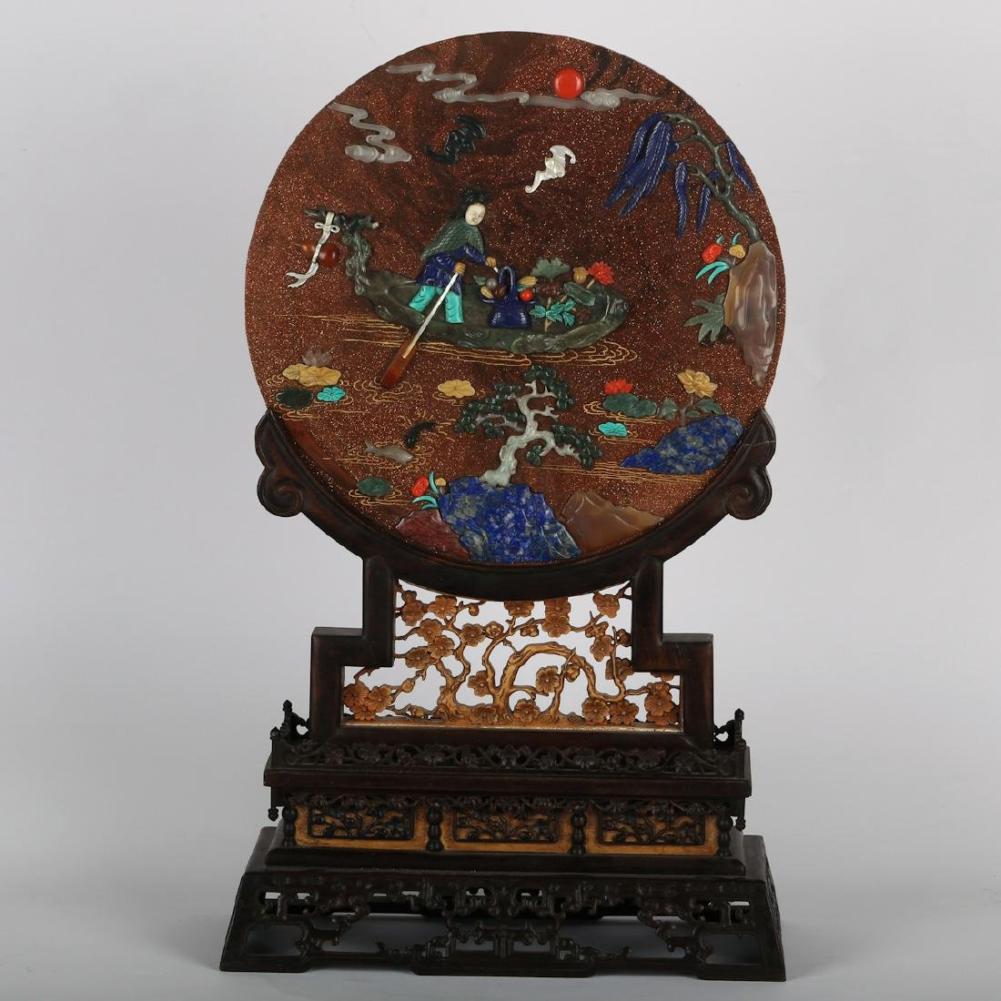 CHINESE MULTISTONE PLAQUE ON ROSEWOOD TABLE SCREEN