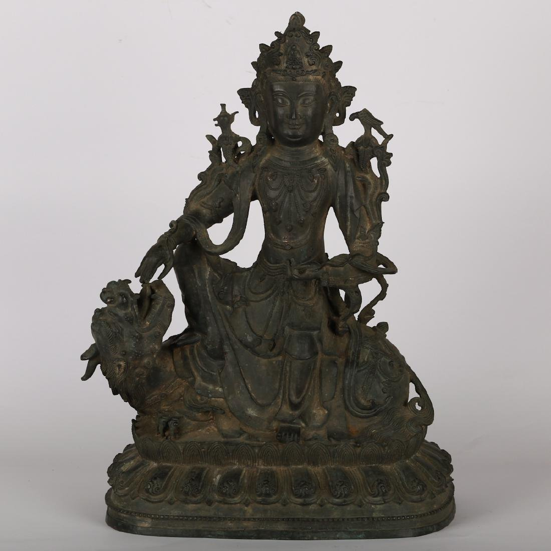 CHINESE BRONZE FIGURE OF GUANYIN, MING DYNASTY