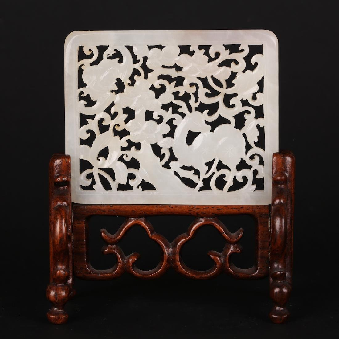 CHINESE JADE PLAQUE W/ STAND