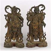 CHINESE PAIR BRONZE FIGURE OF GUARDIAN MING DYNASTY