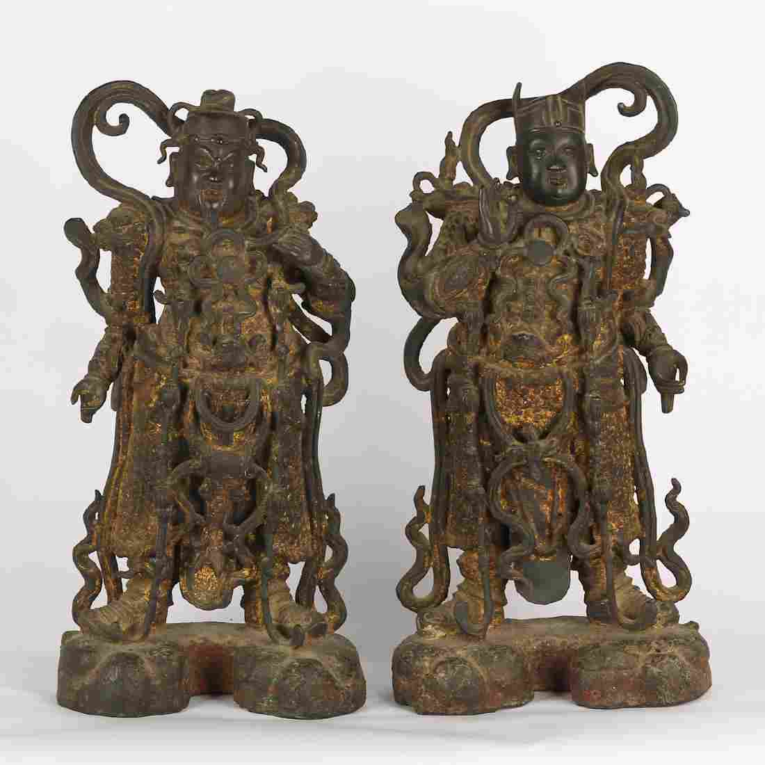 CHINESE PAIR BRONZE FIGURE OF GUARDIAN, MING DYNASTY