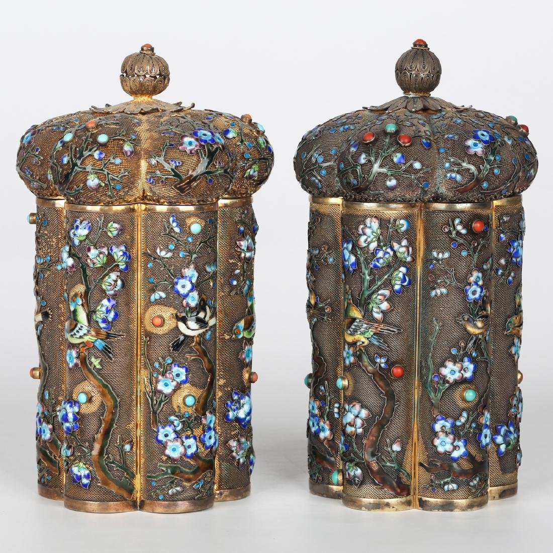 CHINESE PAIR OF SILVER ENAMEL COVER JARS