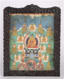 CHINESE THANGKA PAINTING IN WOOD FRAME