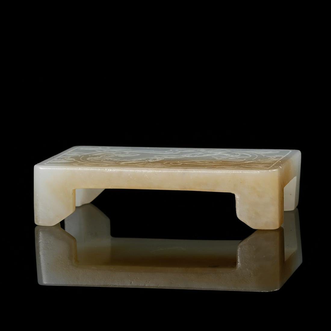 CHINESE WHITE JADE CARVED CHILONG INK REST
