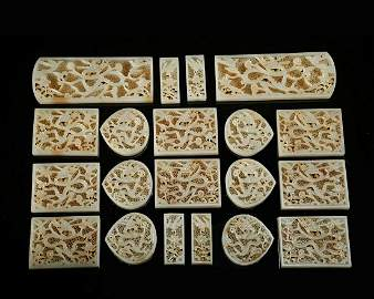 CHINESE SET OF WHITE JADE BELT PLAQUES