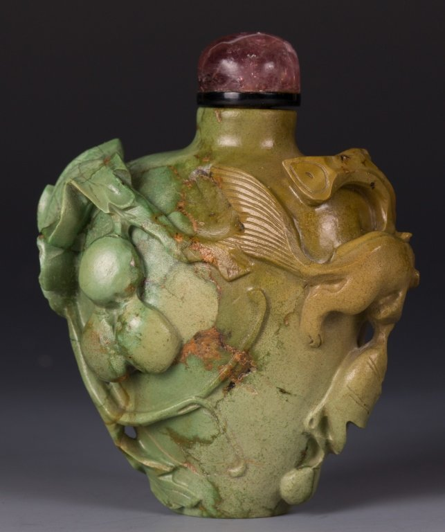 CHINESE TURQUOISE SNUFF BOTTLE, SQUIRREL & GRAPE
