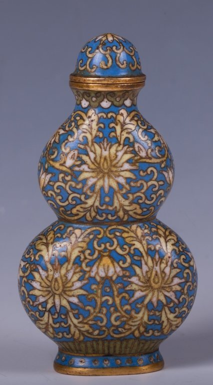 CHINESE CLOISONNE DOUBLE GOURD SHAPE SNUFF BOTTLE