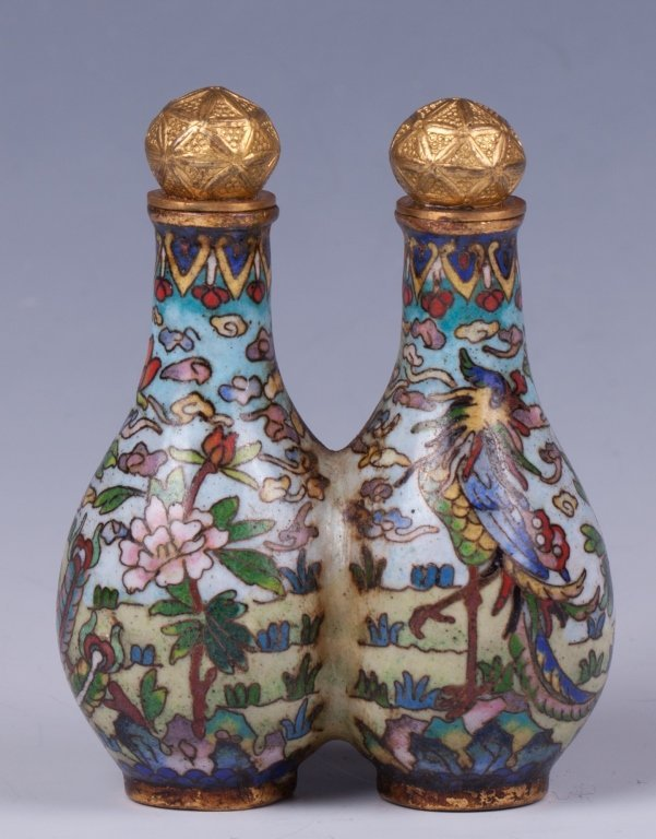 CHINESE DOUBLE CLOISONNE SNUFF BOTTLE