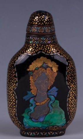 Chinese Rare Lacquer, Shell On Bronze Snuff Bottle