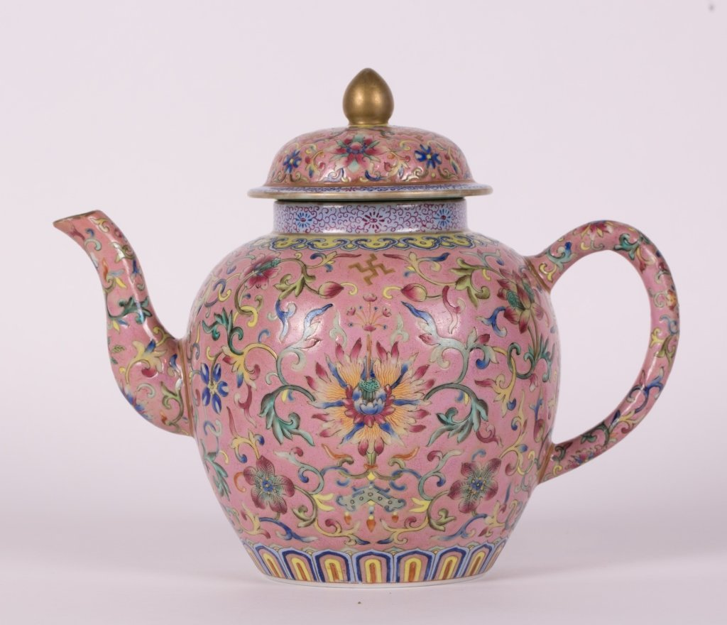 CHINESE PINK GROUND FAMILLE ROSE TEA POT