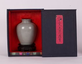 Chinese Guan Type Vase With Zitan Stand