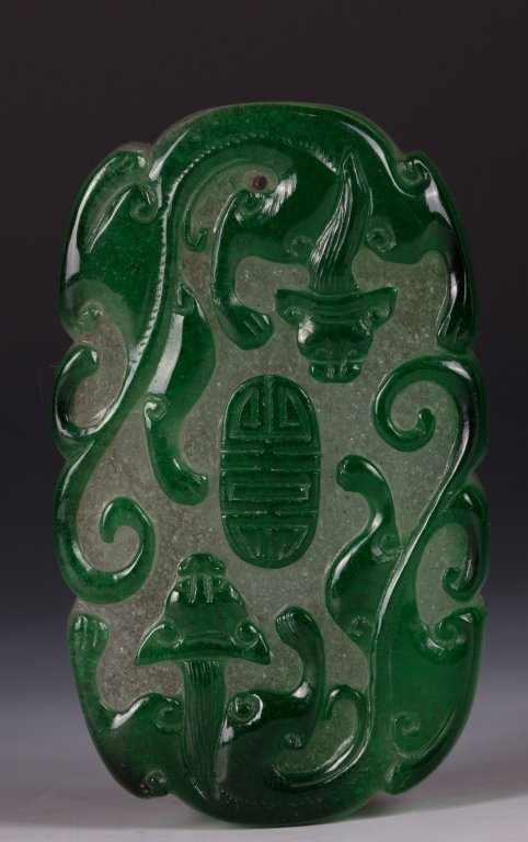 CHINESE TWO TONE PEKING GLASS CHILONG PLAQUE