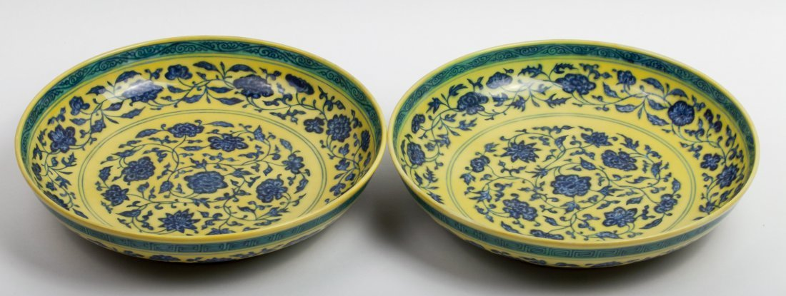 PAIR CHINESE QING BLUE WHITE YELLOW GROUND PLATE