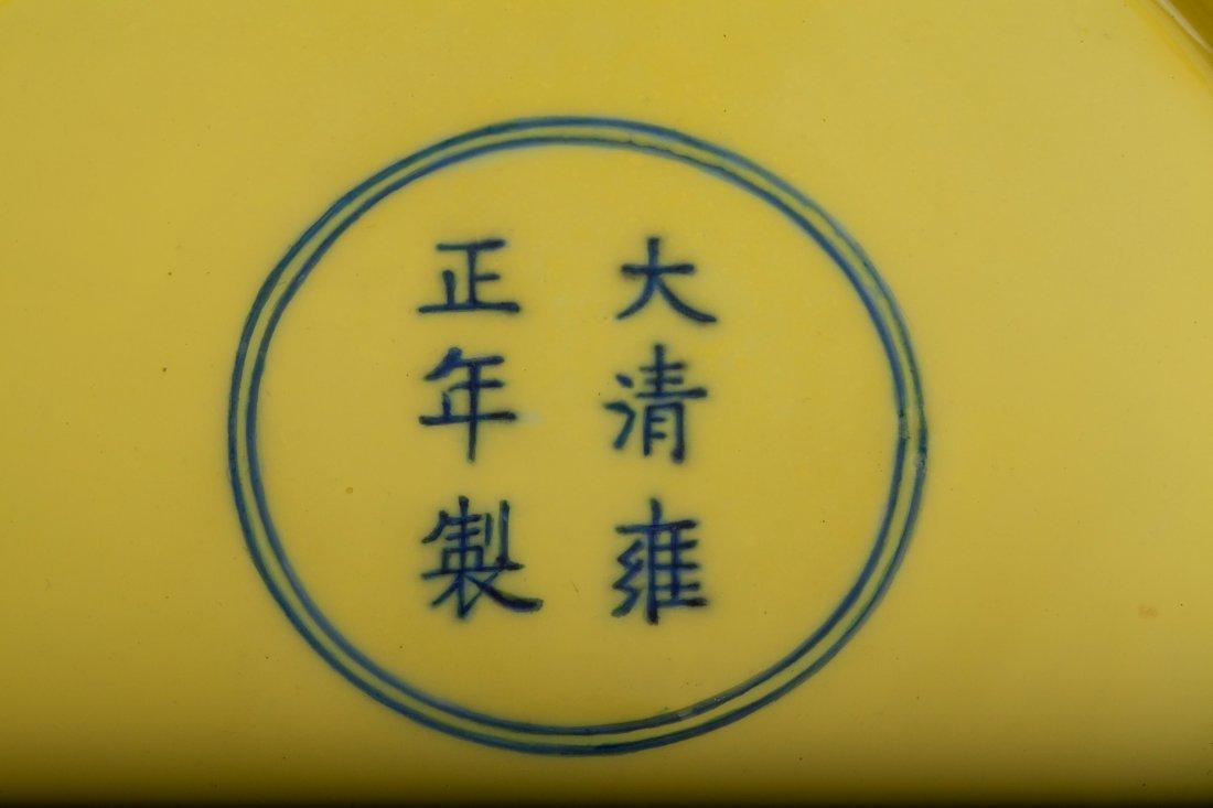 PAIR CHINESE QING BLUE WHITE YELLOW GROUND PLATE - 3