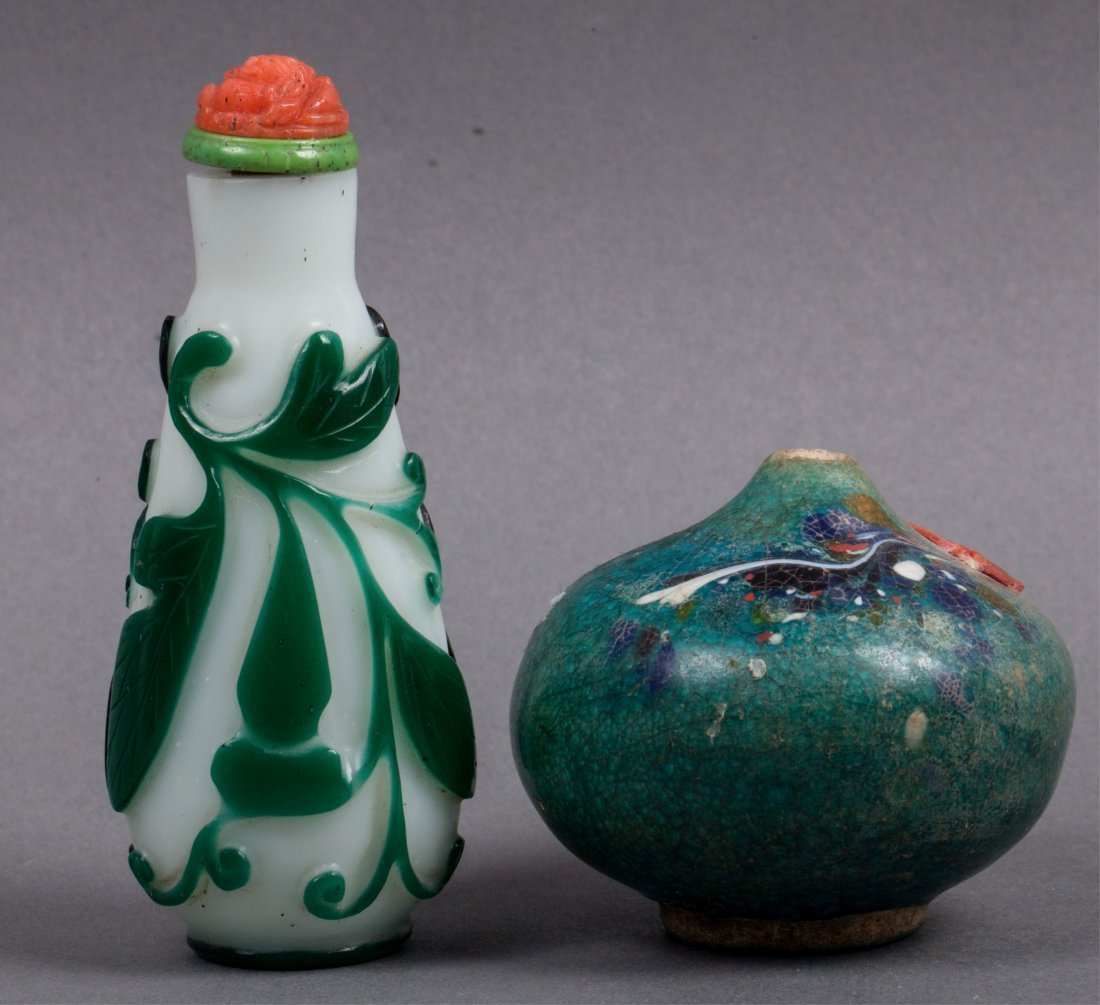 CHINESE QING DYNASTY SNUFF BOTTLE AND PIPE STEM