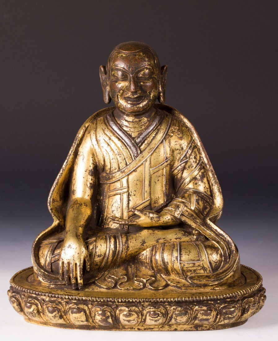 CHINESE GILT BRONZE FIGURE OF DALAI LAMA