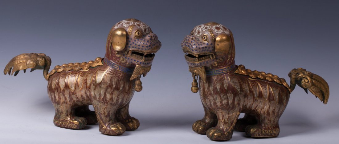PAIR OF CHINESE GILT BRONZE CLOISONNE FOOLIONS