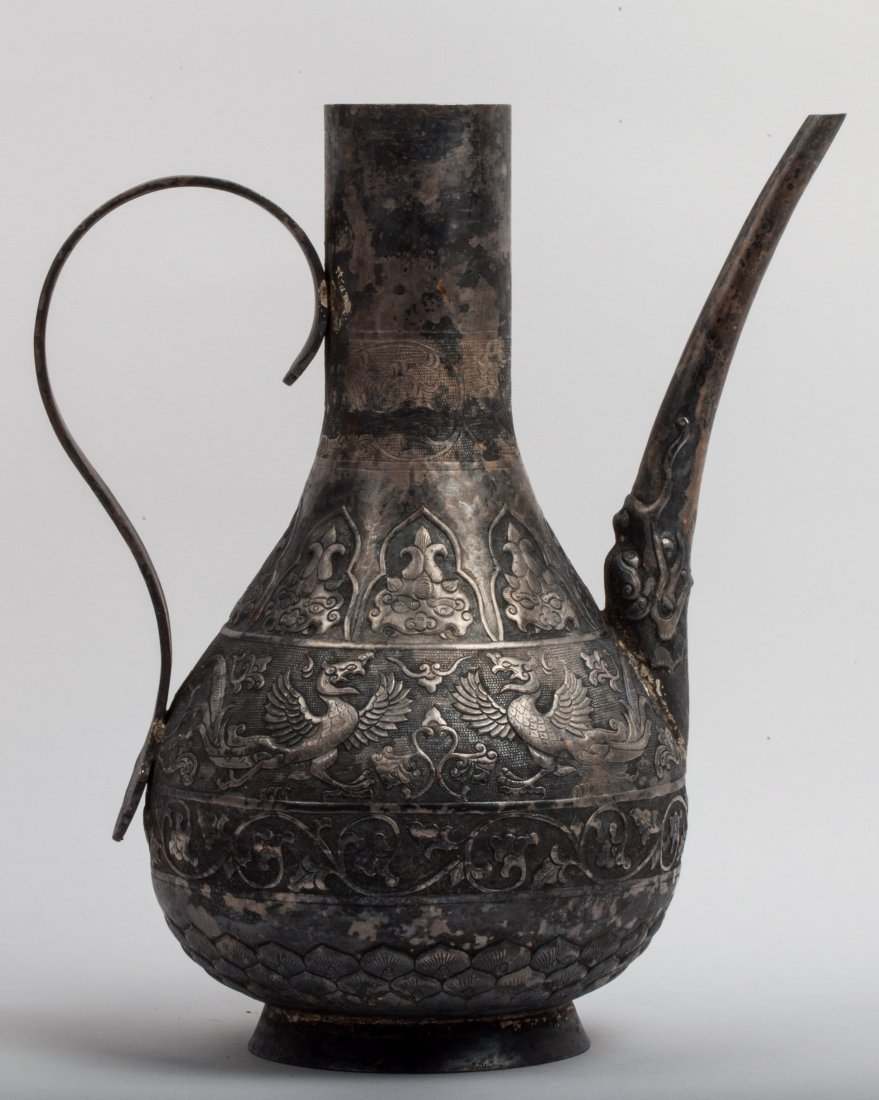 CHINESE MING DYNASTY SILVER WATER PITCHER