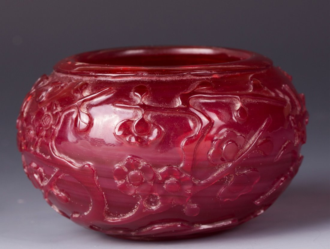CHINESE RED PEKING GLASS WATER COUPE, FLOWER MOTIF