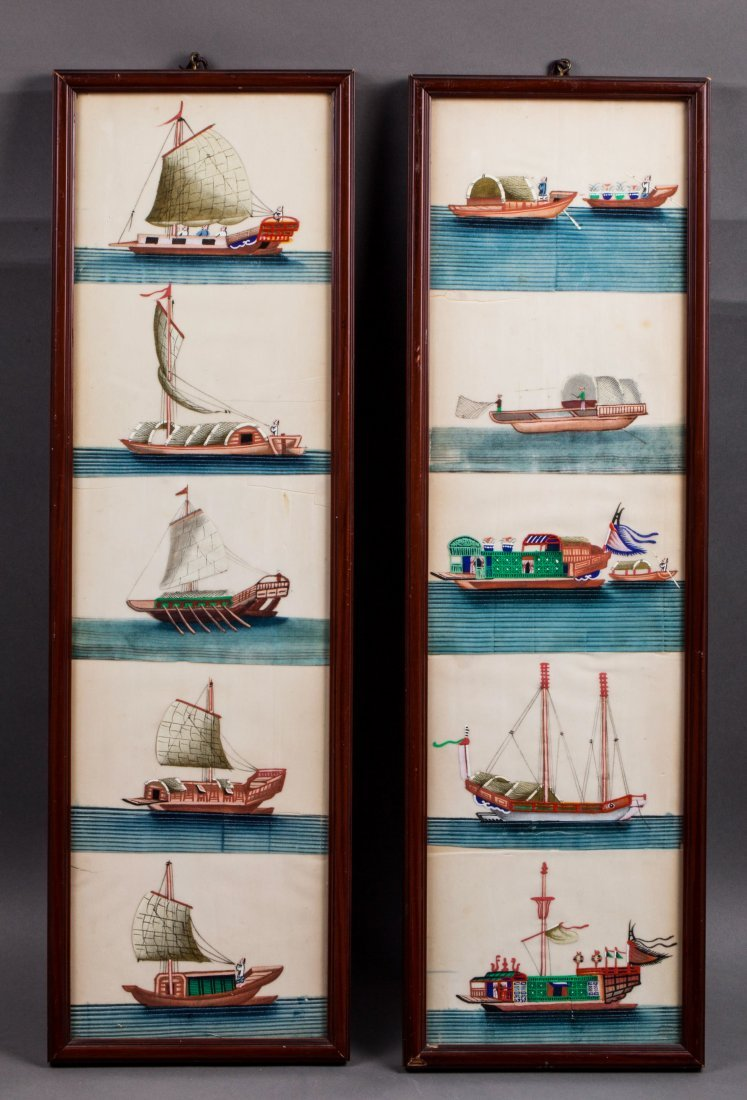 2 CHINESE QING DYNASTY SAILBOAT PAINTINGS ON FRAME