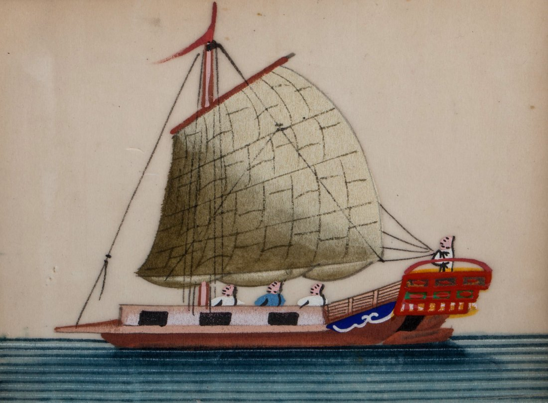 2 CHINESE QING DYNASTY SAILBOAT PAINTINGS ON FRAME - 2