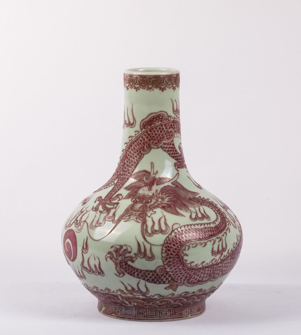 CHINESE CELADON GLAZED RUBY ENAMELED DRAGON VASE