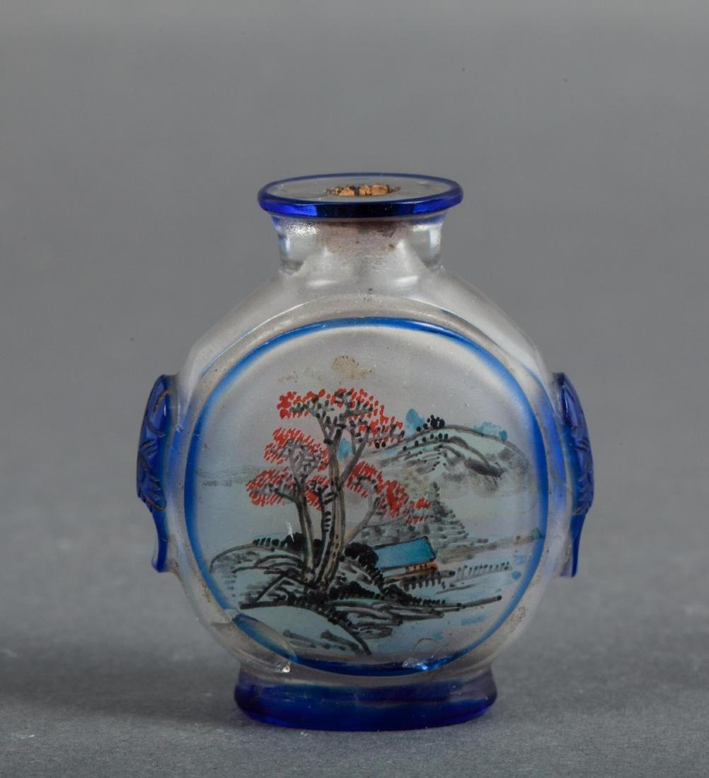 CHINESE INTERIOR PAINTED PEKING GLASS SNUFF BOTTLE